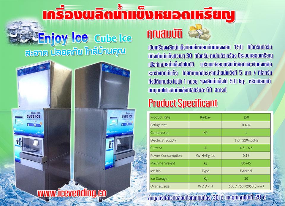 ตู้น้ำแข็งหยอดเหรียญ Enjoy Ice 092-891-4654